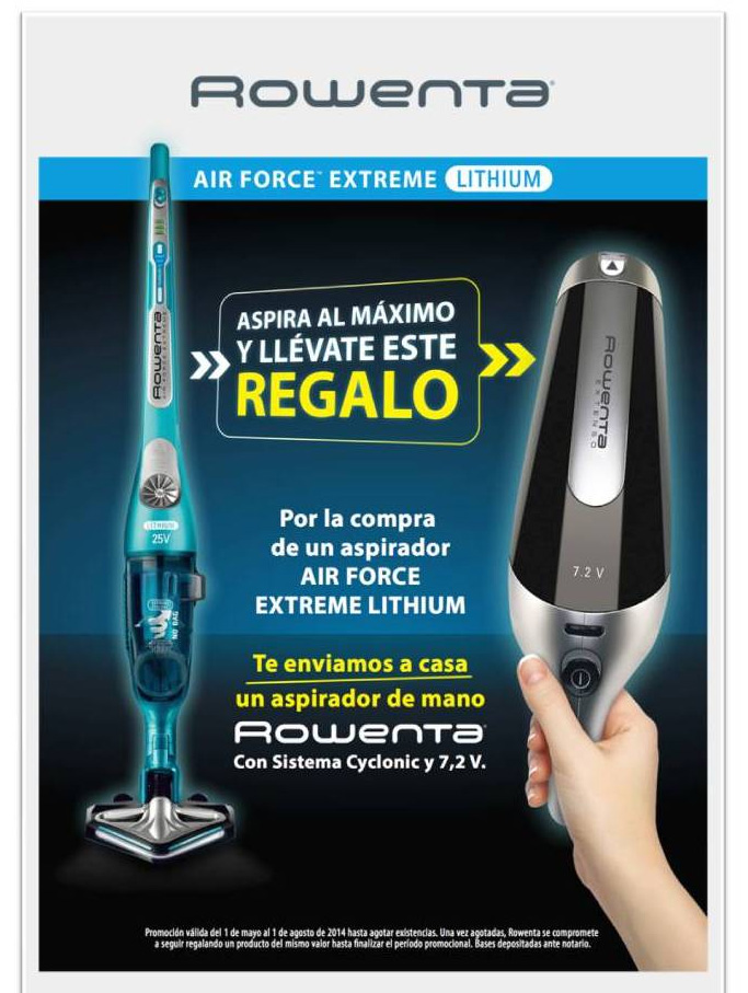 consigue un aspirador de mano de regalo con rowenta air force